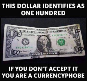 Pengofobi. Skämt bild från vårt arkiv av ekonomihumor.