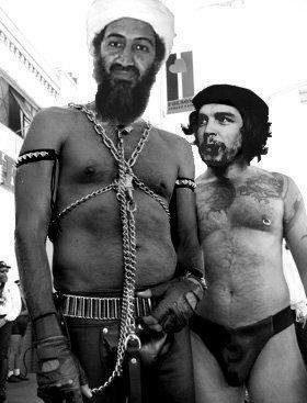 Terrorist skämtbild om Usama bin Laden (islamist) och Che Guevara.